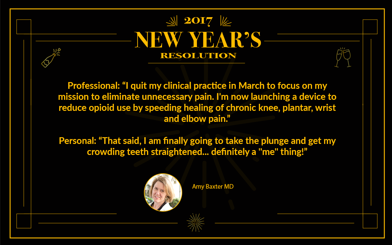 Dr. Amy Baxter, 2017 Resolutions