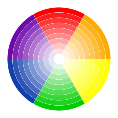6 color circle displaying complementary colors