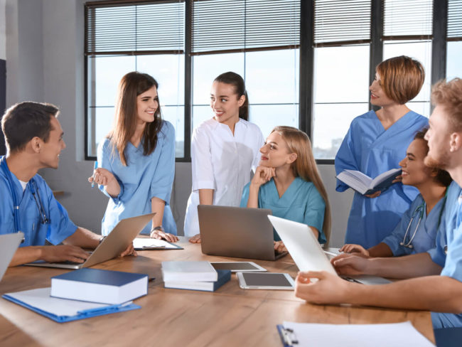 group studying nursing students
