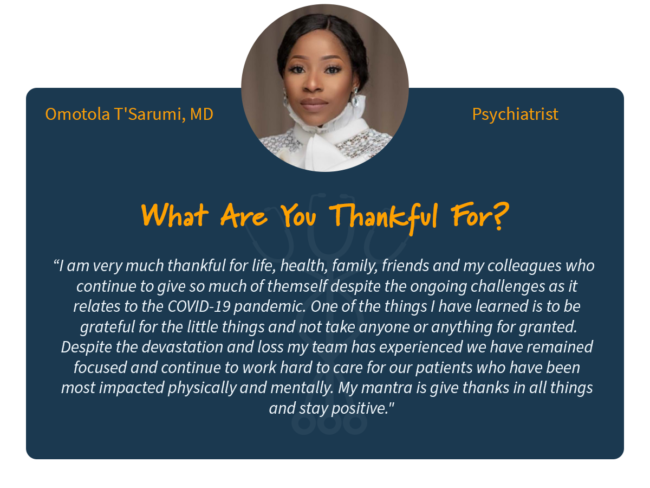 Omotola T'Sarumi, MD Dr. Tola thankful healthcare worker